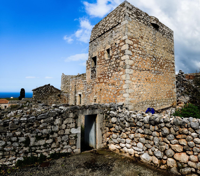 Verlaten torenhuis op de Mani